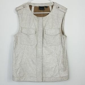 Trouve Leather White Crackled Zip Up Vest